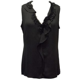 Elie Tahari Black Silk Ruffled Top