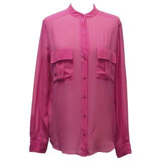 BCBG Max Azria Neon Pink Chiffon Top