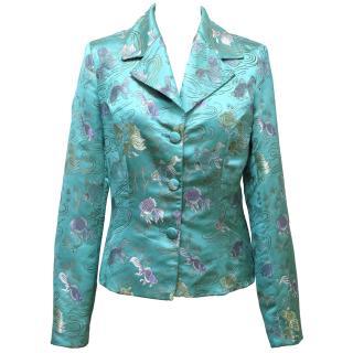 Selina Blow Blue Silk Embroidered Blazer Jacket