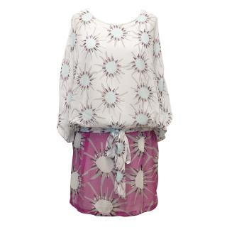 Diane von Furstenberg Off-White and Pink Patterned Top