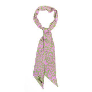 Diane von Furstenberg Green and Pink Butterfly Print Scarf