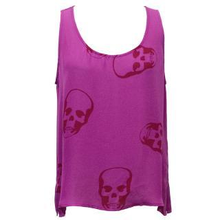 E.vil Pink Skull Printed Vest Top