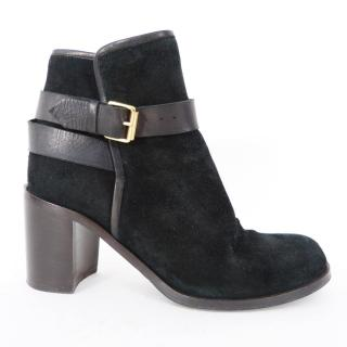 Studio Pollini buckled black suede ankle boots