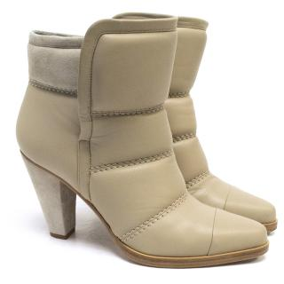 Chloe Beige Padded Leather Ankle Boots