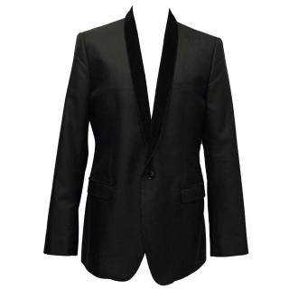 Dolce & Gabbana Black Textured Silk Blend Blazer