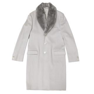 Gianni Versace Grey Coat with Castorino Fur Collar