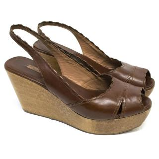 Alaia Brown Wooden Wedges