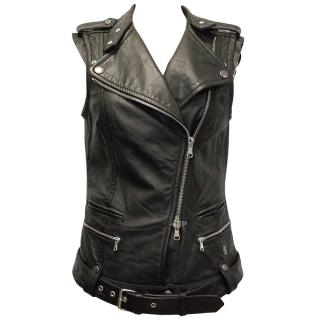 Pierre Balmain Black Leather Vest