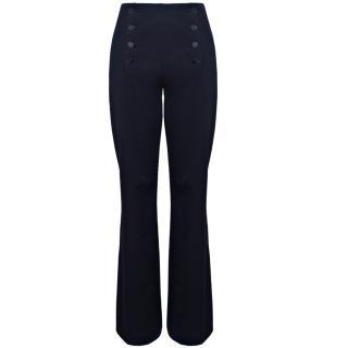 Lil pour l'Autre Flared Cotton Trousers In Navy Blue