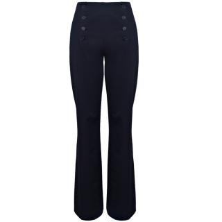 Lil pour l'Autre Flared Cotton Trousers In Navy Blue