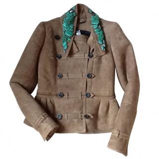 Burberry Prorsum Beaded Shearling Peplum Jacket