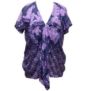 3.1 Phillip Lim Purple Floral Silk Blouse