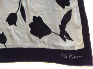 Les Copains midnight blue velvet burnout flowers scarf