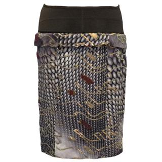Fendi Brown Pattern Skirt with Embellishment