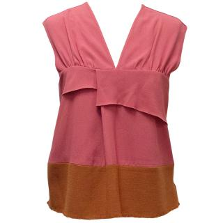Michael Van der Ham Pink Top with Orange Bottom Border