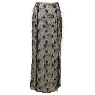 Simultaneous White with Black Lace Overlay Skirt