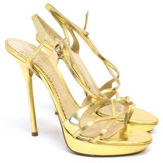 John Galliano Gold Sandal Heels