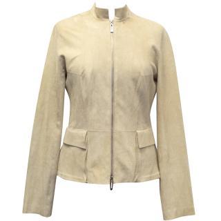Amanda Wakeley Cream Leather and Suede Jacket