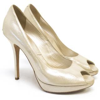 Dior Metallic Nude Peep Toe Heels
