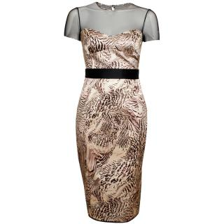 Giles Printed Pencil Dress With Mesh Detail