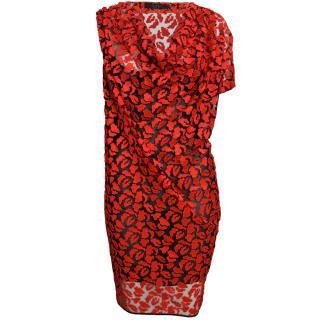 Giles Draped Lace Red Lips Dress