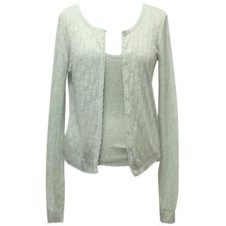 Christian Dior Pale Green Crochet Knit Cardigan and Vest Top