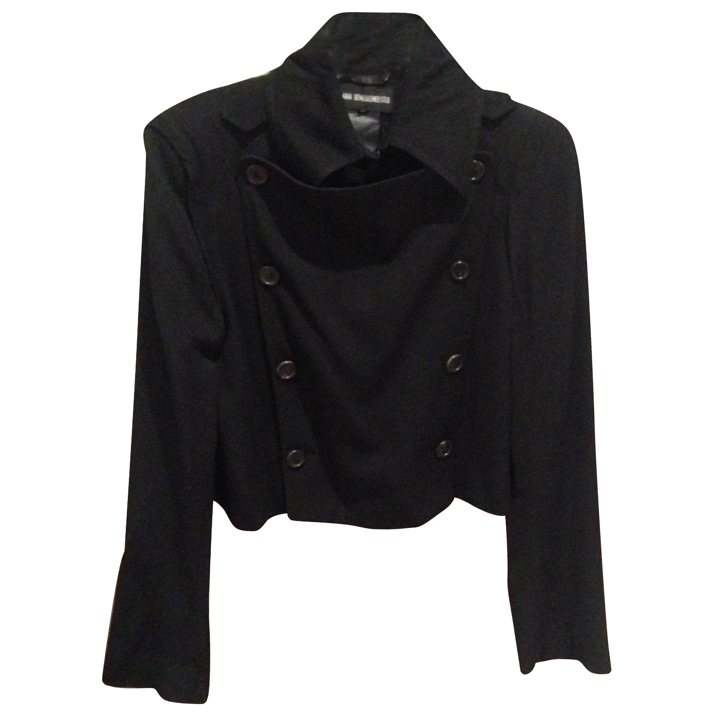 Ann Demeulemeester black cropped military jacket