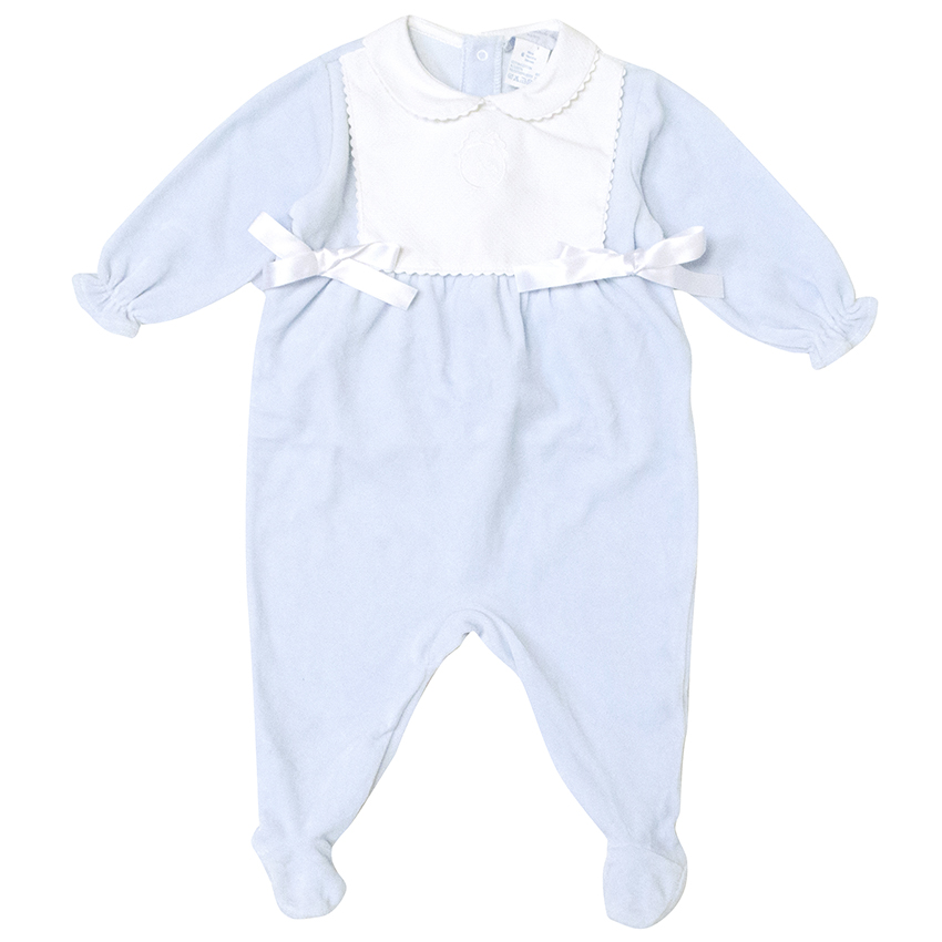 Le Petit Monde Baby Blue and White Onesie