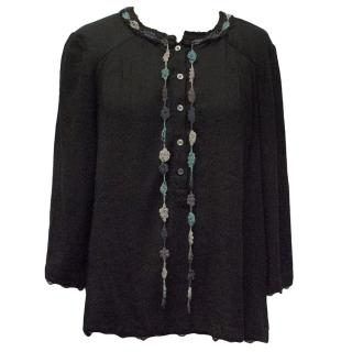 Zadig & Voltaire Black Top with Crochet Detail