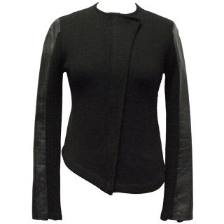 Zadig & Voltaire Black Jacket with Zip and Leather Sleeves