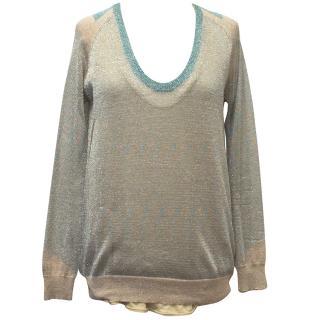 Zadig & Voltaire Sheer Metallic Sweater with Beige Tank Top