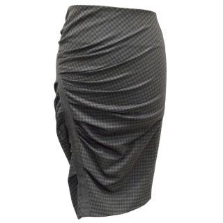 Brunello Cucinelli Grey Check Pencil Skirt
