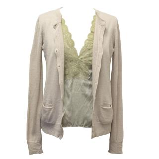 Patrizia Pepe Beige Cardigan with sewn in cami