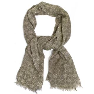Taupe Floral Pattern Scarf