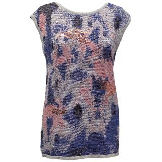 Pinko Grey, Blue and Pink Knitted Top