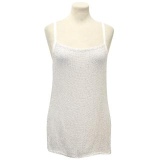 Pinko White Camisole with Silver Beading detail