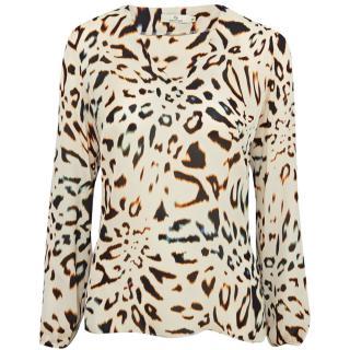 Charlotte Sparre Leopard Print V-Neck Blouse