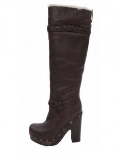 UGG Savanna Dark Brown Leather Knee High Boot