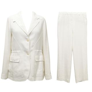 Loro Piana Off-White Linen Blazer and Trouser Suit