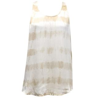 Club Monaco Ivory and Beige Silk Tie Dye Vest