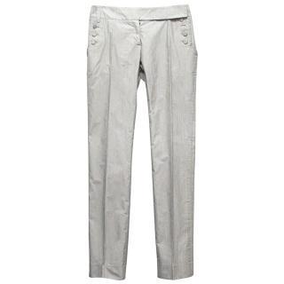 Pringle of Scotland Black and White Striped Trousers