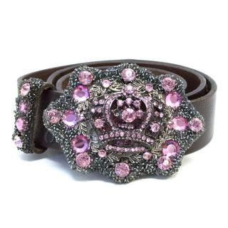 IVY Brown Leather Belt with Pink Crystals