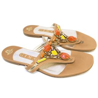Gina Brown Leather Sandals with Rhinestones