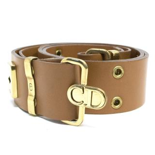 Christian Dior 'CD' Brown Leather Belt