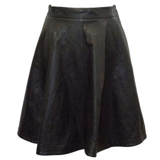 Diane Von Furstenberg Flared Leather Skirt