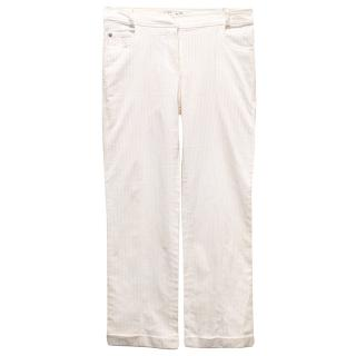 Christian Dior White Pinstripe Trousers