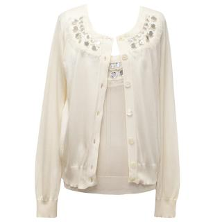 Christian Dior Cream Knitted Vest Top and Cardigan