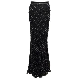 Donna Karan navy skirt with polka dots