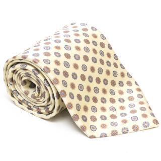 Brioni Cream & Floral Silk Tie