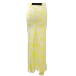 Roberto Cavalli yellow patterned silk maxi skirt
